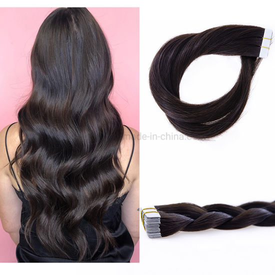 100% Virgin Natural Brazilian Human Hair #2 Dark Brown with Tape in Hair Extension Skin Weft