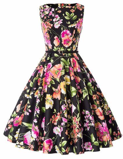 63 Black Flower Print Lovely Cute Girls Fashion Party Dress