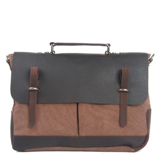 Crazy Horse Leather Waxed Canvas Products Fashionable Handbag (RS-8896B) pictures & photos