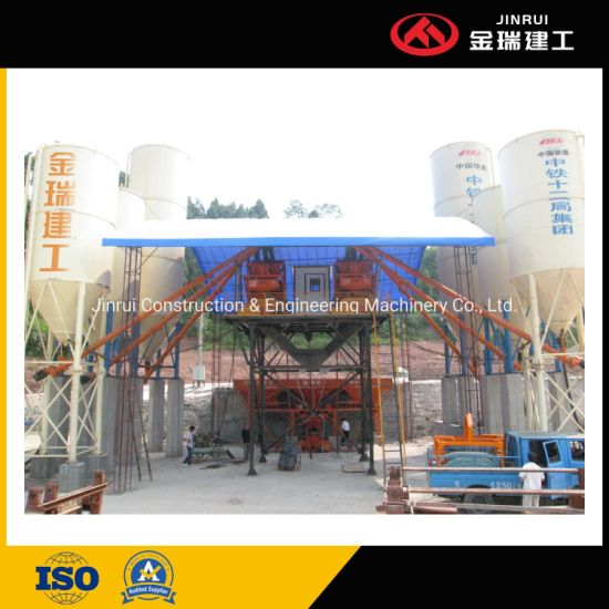 Mobile Concrete Mixing Self Loading Mixer Batch Plant Batching Construction Equipment Hzs50