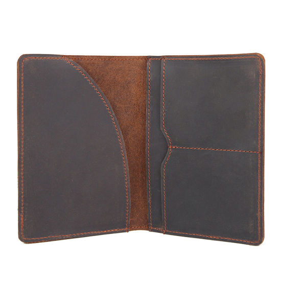 Hot Selling Good Quality Vintage Brown Cow Leather Passport Cover Passport Holder for Traveling pictures & photos