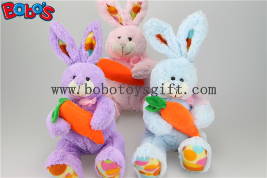 "9.5"" Pink Plush Rabbit Toy with Embroidery Carrot Feet Bos1157 pictures & photos"