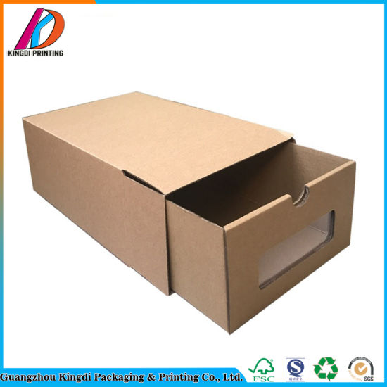 Beau Customize Corrugated Paper Shoes Storage Box With Clear Window
