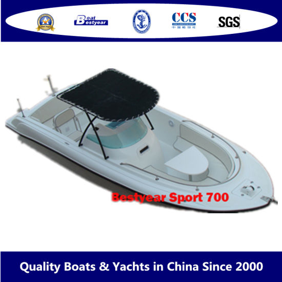 Bestyear 7m 23FT Fiberglass Speed Boat for Fishing Sport or Pleasure Center Console with/Without Canopy