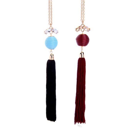 Fashion Elegant Inlaid Crystal Line Ball Tassel Pendant Long Chain Alloy Women′s Sweater Necklace pictures & photos