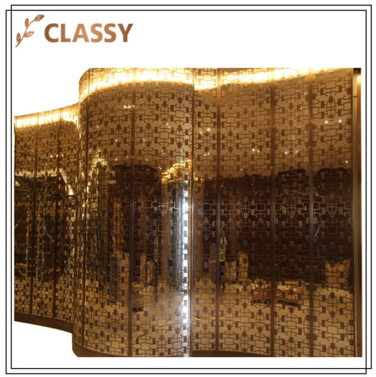 Different Styles of Golden Stainless Steel Arc Shopping Mall Hotel Decorative Screen