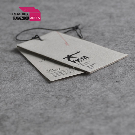 Fashion Grid Paper Tag/Hang Tag Designs with Cotton Rope pictures & photos