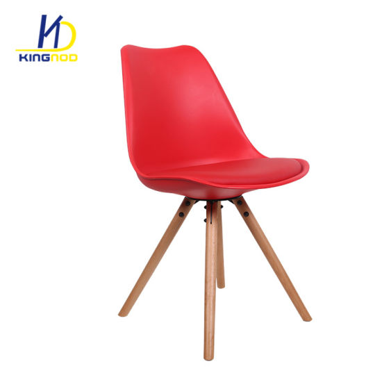 Colorful PP Designer Emes Wooden PU Cover Outdoor Tulip Plastic Chairs