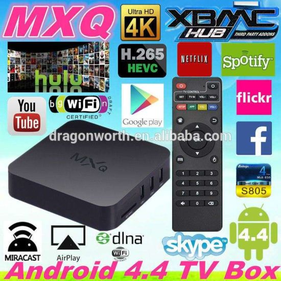 Mxq Amlogic S805 1g RAM 8g ROM Quad Core Kodi TV Box Android 4 4 OS H  265  Supported WiFi LAN Miracast Airplay Hot Android 4 4 Smart Mxq HD Android TV
