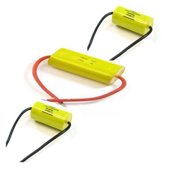 yellow 225k 2 2uf 630vdc cbb20 axial type polypropylene film capacitor  pictures & photos