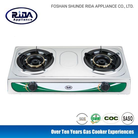 Popular Stainless Steel Pane Double Burner Steel Cap Kitchen Appliance Gas Cooker