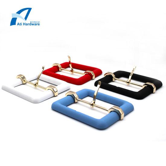 Different Color Design Metal Big Decoration Hardware Fastener Square Belt Pin Buckle