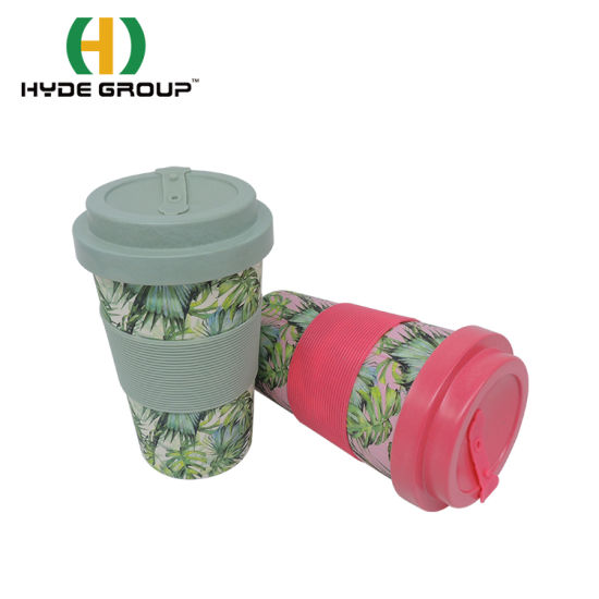 Biodegradable Reusable 400ml Decal Printing Bamboo Fiber Cup