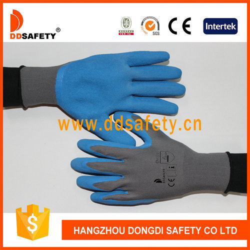 Blue Latex Dipped Protection Glove Crinkle Finish