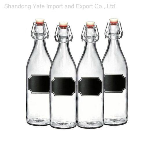 Transparent Glass Juice Bottles with Lids