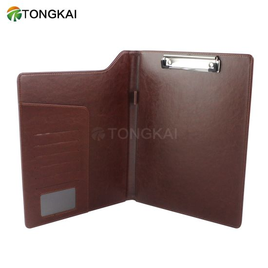 Leather Memo Folder with Card Slot and Clip
