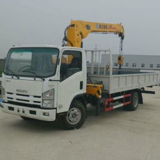 Japan Brand 700p 5tons 4tons 6tons Small Isuzu Crane Truck Mounted Brick Grab Crane