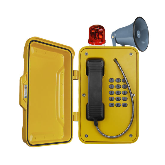 Oil Smokey and High Noise Water Proof Protection Analogue Telephone with Alarm Light and Loudspeaker Jr101-Fk-Hb