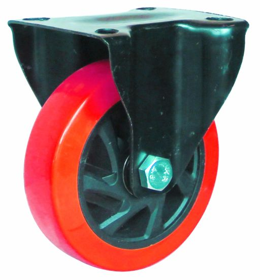 4/5 Inch Red PU Caster for Plastic Trolley with Brake pictures & photos
