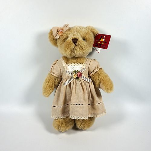 Plush Brown Fur Jointed Bear with Clothing
