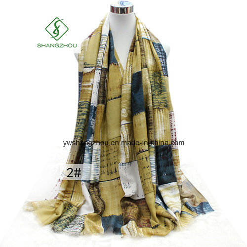 New Design Shawl with Plaid Printed Satin Fashion Lady Scarf Factory pictures & photos