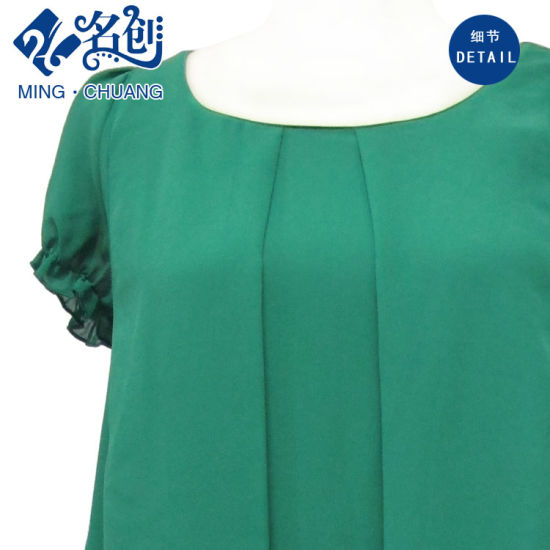 Green Stacking-up Demure Round-Neck Middle-Aged Fashion Dress pictures & photos