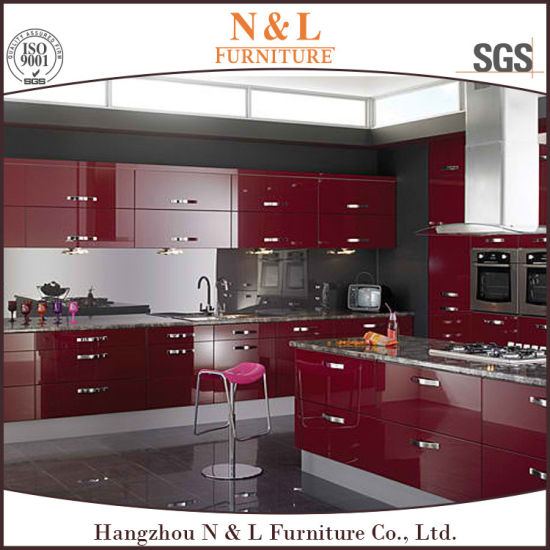 China Red Color High Gloss Lacquer Wood Kitchen Cabinet China Wood