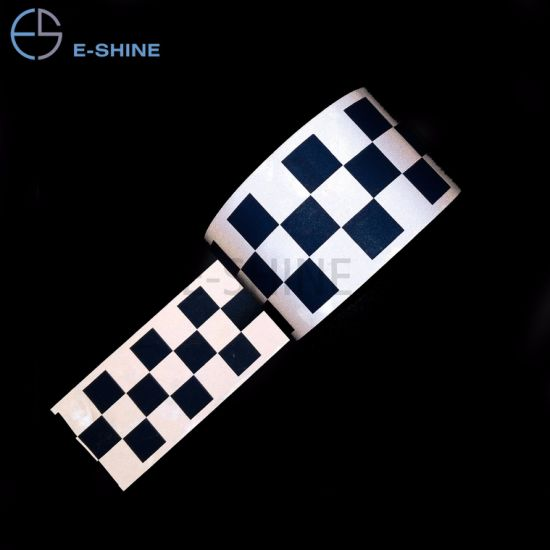 E-Shine Blue Color 100%Polyester or Cotton Material Reflective Warning Checkered Tape Fabric for Safety