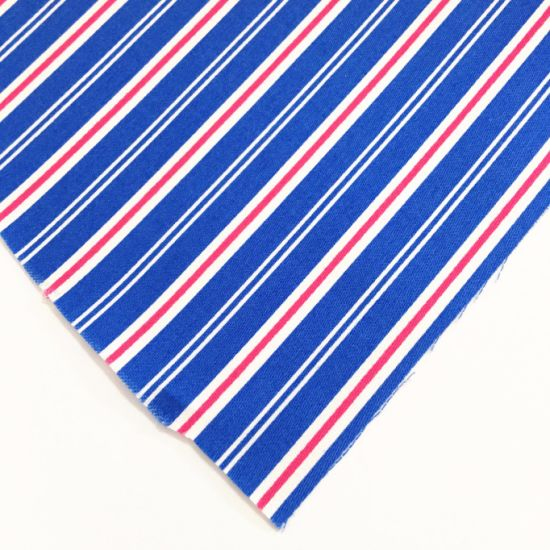 Royal Blue 100% Cotton Strip Line Curtain Fabric for Hotel