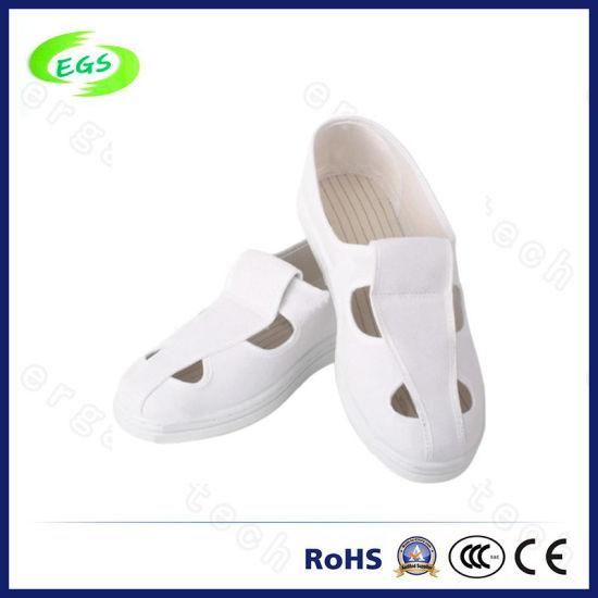 White Canvas PU Mesh Cleanroom 4 Holes ESD Shoes