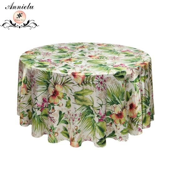 Wedding Table Cloth Satin Printed Table Covers Home Textil Tablecloth pictures & photos