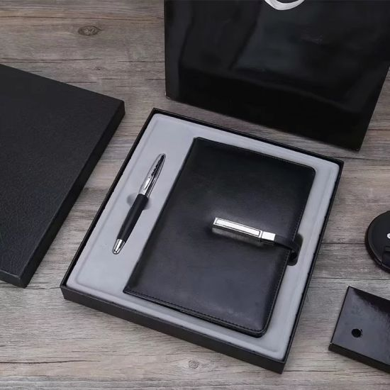 Genuins Leather Notebook and Metal Pen Gift Set for Business