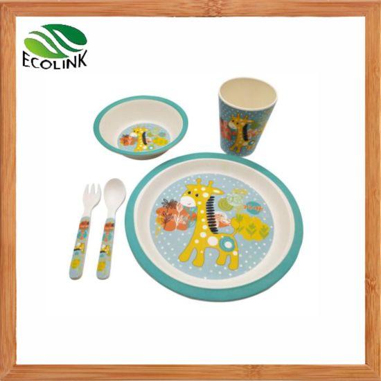 1 Pack Bamboo Fiber Eco-Friendly Kids Feeding Set 5pc