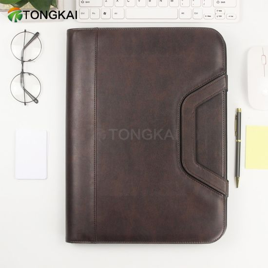 Newly Design Genuine Leather Briefcase Portfolio with Handle