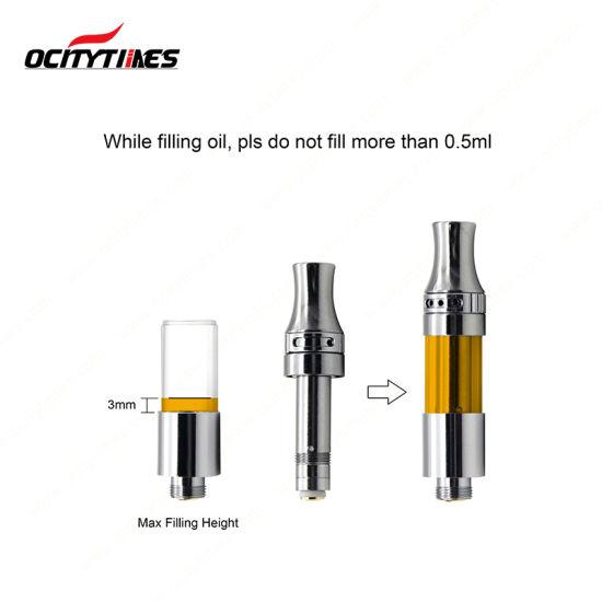 Ocitytimes No Leaking 510 Oil Vape Cartridge Adjustable Top Airflow C19-Vc Cbd Oil Ceramic Glass Cartridge pictures & photos