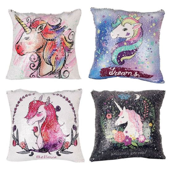 China Rainbow Unicorn Diy Mermaid Sequin Cushion Cover Magical