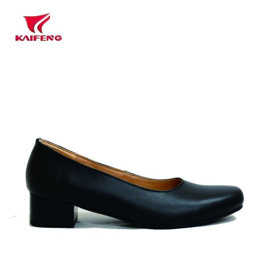 Cow Leather Lady Officer Shoes pictures & photos