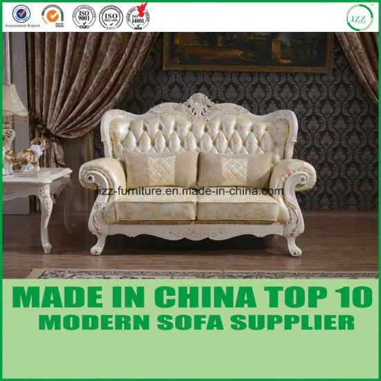Classic Luxury Wooden Furniture Italian Leather Sectional Sofa Chair