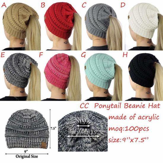 a8c40b687b8196 Wholesale High Quality Ponytail Beanie Tail High Bun Hat pictures & photos