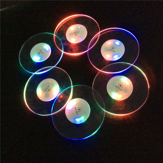 Wholesale Ultra-Thin Round Acrylic Luminous Drink Coasters LED Cup Mat LED Atmosphere Supplies pictures & photos