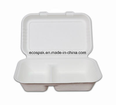Eco-Friendly Biodegradable Disposable Sugarcane/Bagasse Tableware 1000ml 2-Compartment Container