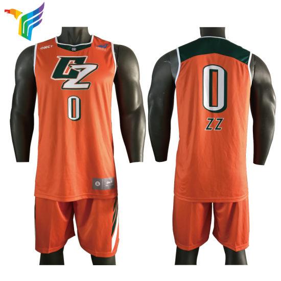 China 2018 Full Transfer Printing Custom Orange Basketball Uniforms