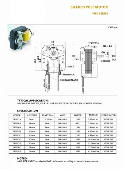 Yj60 5-200W High Efficiency AC Pulverizer Motor pictures & photos
