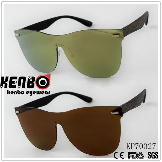 59eb01f407e8 One Piece Lens Sunglasses with Wooden Grain Drawing Temple Kp70327 pictures    photos