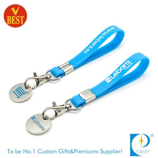 Custom Token/Trolley/Shopping/Supermarket Coin with Rubber Bracelet Key Chain