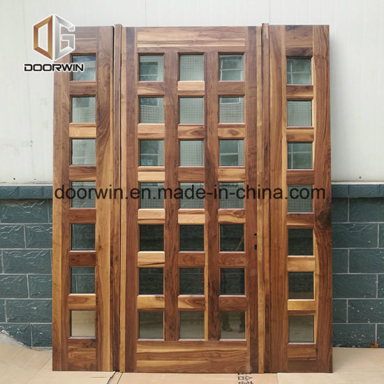 Black Walnut Solid Wood Entrance Door With Sidelight