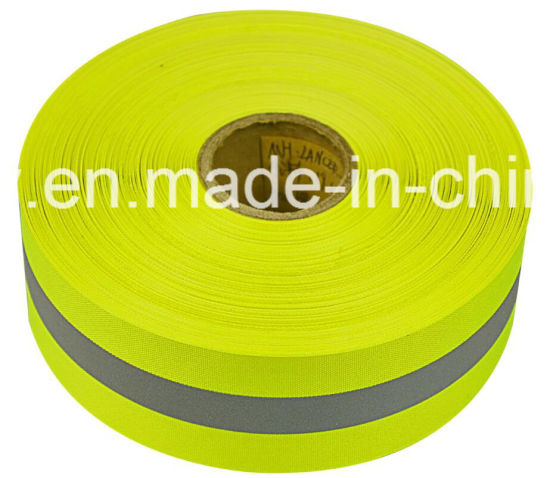 Yellow Reflective Material Warning Fabric Tape with En20471 pictures & photos