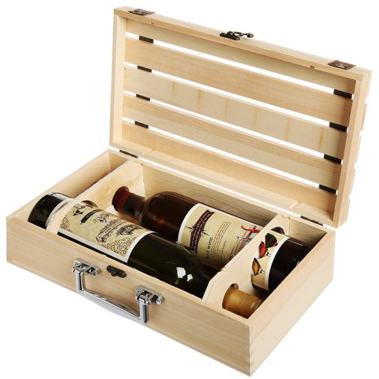 China Pine Wood Wine Box 2 Bottle Wooden Travel Storage Box Display