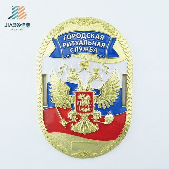 Cheap Custom Gold Police Security Military Badges for USA Souvenir