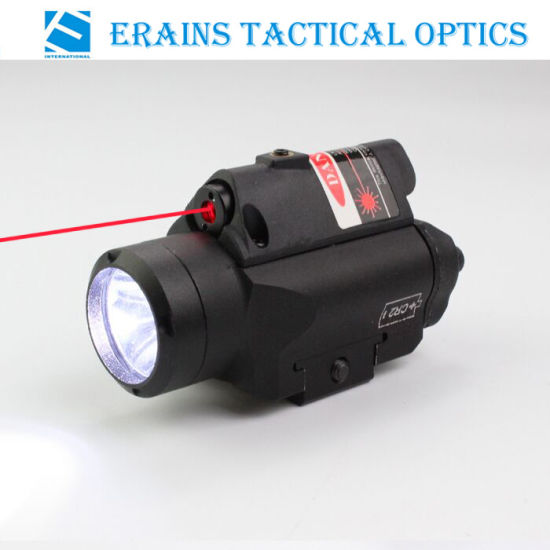 Compact Glock Pistol and Full Size Handgun Fittable Subzero Workable Aluminium Tactical 220 Lumens LED Flashlight with Red Laser Sight
